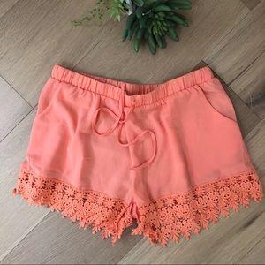 NWOT Coral boho high waisted lace trim shorts